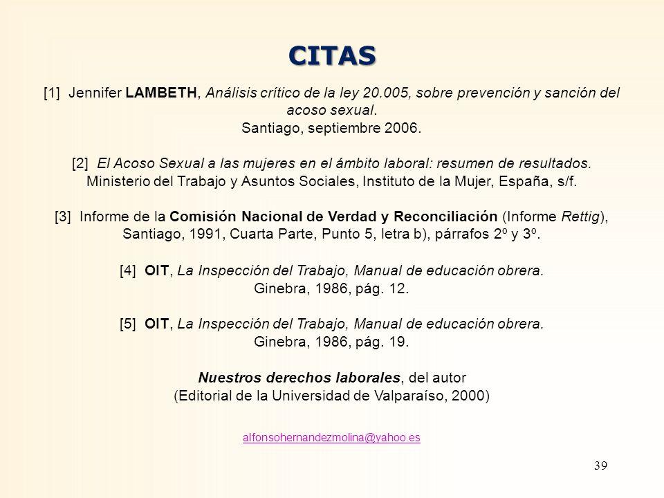 CITAS [1] Jennifer LAMBETH, Análisis crítico de la ley 20.005, sobre prevención y sanción del acoso sexual.